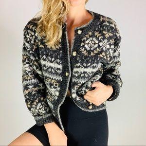 Vintage SKYR Wool Fair Isle Button Down Cardigan L